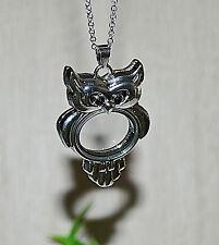 Medaillon Eule Kette Magnet EULEN FLOATING CHARMS Halskette silber Einleger