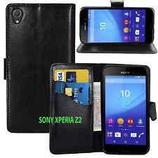 Nuevo Gel Estuche tipo Billetera de cuero negro con ranura para tarjetas para SONY XPERIA Z2 Reino Unido Publica Gratis