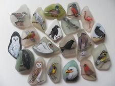 Hand painted bird miniature painting on sea glass beach pottery choice of finish