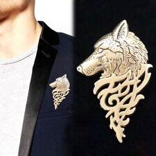 Vintage Men Suit Collar Wolf Brooch Punk Lapel Badge Pin