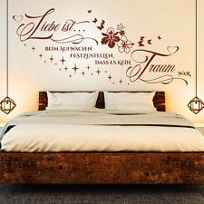 Wandtattoo Liebe ist beim Aufwachen... Spruch Zitat Schlafzimmer Paare Blumen