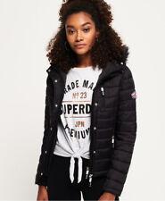 New Womens Superdry Fuji Slim Double Zip Hooded Jacket Black