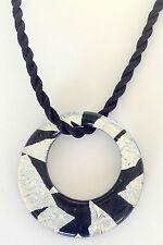 "ITALIAN MURANO CIRCLE BLACK AND SILVER COLOR GLASS PENDANT WITH 16 "" SILK CORD"