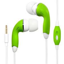 Green Universal 3.5mm Earphones Remote Control w/ Mic. Handsfree Stereo Headset