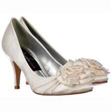 Ladies Low Kitten Heel Bridal Wedding Shoes Flower and Pearl - Ivory Satin