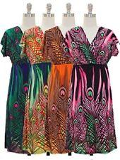 jon & anna Peacock Dress V-neck Surplice Knee-Length Feather Print Womens 7055