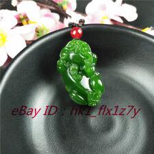 Fashion Charm Jewelry Lucky Amulet Chinese Green Jade Pixiu Pendant Necklace