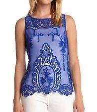 Karen Kane 4L57527 NEW WAVE Sapphire Blue Embellished Mesh Tank Top, S - $79.50