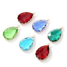 Crystal Water Drop Pendants DIY Charms Necklace Earrings Jewelry Making Findings
