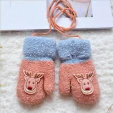 Cartoon Unisex Baby Lanyard Fawn Knitted Gloves Mitten Kid's Gloves Mitts H