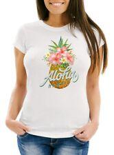 Damen T-Shirt Ananas Aloha Hawaii Blumen Pineapple Tropical Summer Jungle