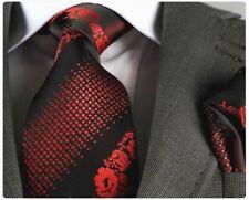 ROSE RED & BLACK FLORAL SILK TIE (& HANKY) Italian Designer Milano Exclusive
