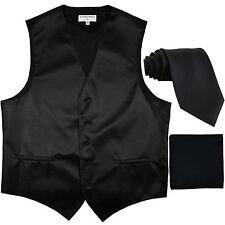 New Men's Horizontal Stripes Tuxedo Vest Waistcoat_tie & hankie Set black formal