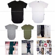 EPTM Mens Extended Tee Side Zipper Long T-Shirt Basic T Black White Made In USA