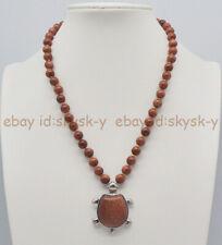 8/10mm Gold Sandstone Round Gemstone Beads & Turtle Pendant Necklace 18''