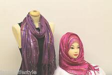 Belles Dames Paillettes Brillantes Bandes Été Foulard Hijab Étole Cou