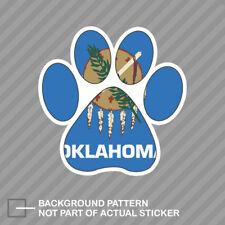 Oklahoma State Shaped Paw Print Sticker Dog Cat Pet Puppy