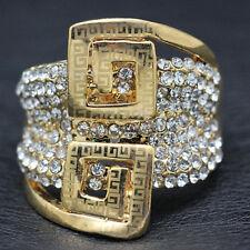 18k Gold Large Ring made w/ Swarovski Crystal Pave Stone Gorgeous Cocktail Ring