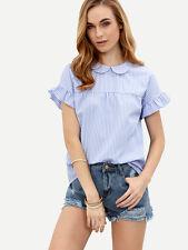 Blue Striped Peter Pan Collar Short Sleeve Top Shirt Blouse Sz XS S M L