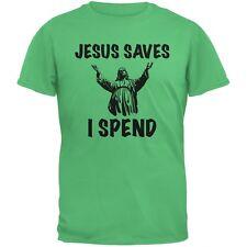 Jesus Saves, I Spend Irish Green Adult T-Shirt