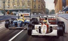 Senna And Mansell In the Monaco Grand Prix Canvas Art Poster Print F1 Monaco