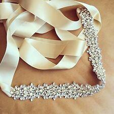 YU Dora Wedding Rhinestone Bridal Sash Belt Crystal Rhinestone Sash for Wedding