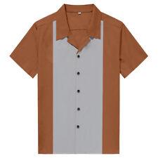 Male Splicing Beer Shirt Casual Fifties Bowling Shirt Brown Rockabilly Clothing