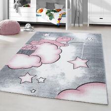 Alfombra Infantil Pelo Corto Oso Bebé Dormitorio Habitación de Gris Blanco