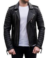 Mens Genuine Lambskin Leather Biker Jacket Motorcycle Winter (2XS to 4XL) DT02