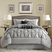 Beautiful Modern Ruffled Pleat ~ Pinch Ruched Grey Black Comforter Set & Pillows