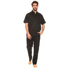 HOMMES NOIR 100% lin ensemble Mojito chemise avec poche & Pantalon Tailles S à