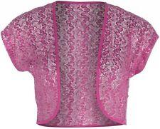 Ladies New Cerise  Sequin Lace Bolero Shrug Top Size 14 16 18 20 22 24 26 *LICK*