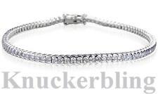 Diamond Line Bracelet Brilliant Cut 2ct F Colour VS 18ct White Gold Bezel-set