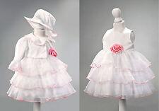 ABITO da BATTESIMO CERIMONIA vestito femminuccia bianco rosa DAMIGELLA cod 1899