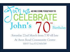 Invitation adult personalised birthday   21st. 30th, 40th, 50th 60th, 70th 80th