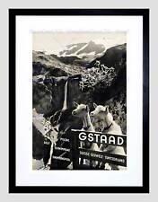 TRAVEL GSTAAD svizzera Alpine Resort Capra CASCATA Framed Art Print b12x6421