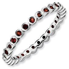 Sterling Silver Stackable Ring Garnet stones, Silver Birthstone Rings QSK362