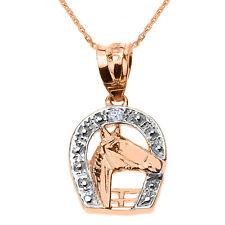 Rose 14k Gold Diamond Horseshoe with Horse Head Pendant Necklace