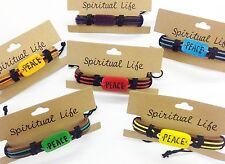SPIRITUAL LIFE PEACE BRACELETS LEATHER, STONE & CORD EMO HIPPY LOVE - VAR COLS