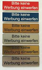 Briefkastenschild Briefkastenschilder Türschild Klingelschild Keine Werbung