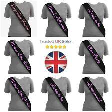 Black Bride to Be Sashes Pink Hen Party Night Sash Bridesmaid Wedding UK SELLER