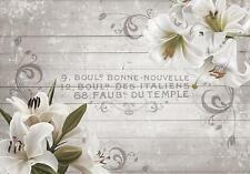Fototapete Tapete Wandbild Textil 10050_TXVEN Weiße Lilien auf Holzbrettern