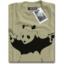 Banksy Panda with Guns Graffiti Mens Camel Brown T-Shirt Top New