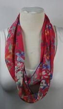 Infinity scarf, beautiful pattern,red, pink fuchsia color  chiffon, handmade