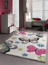 Tapis enfants de jeu de tapis Papillon Design Cream Rose Gris Bleu Vert