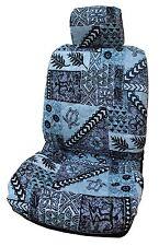 Gray Hawaiian Tapa Design Separate Headrest Car Seat Cover - Set of 2