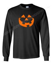 Pumpkin Face T Shirt Jack O' Lantern Halloween Costume Tee Smiling Long Sleeve