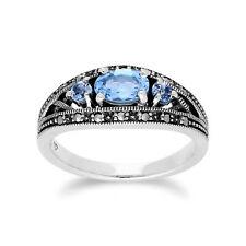 Gemondo Sterling Silver Triple Topaz & Marcasite November Ring