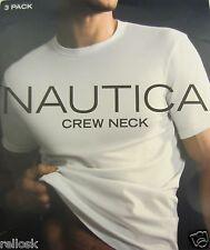 3 NAUTICA MENS 100% COTTON WHITE CREW-NECK T-SHIRTS UNDERSHIRTS SIZES: S M  XXL
