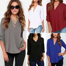 Damen V-Ausschnitt Chiffon 3/4 Ärmel Bluse T-Shirt Freizeit Oberteile Übergröße